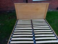 Oak double bed frame. Free local delivery