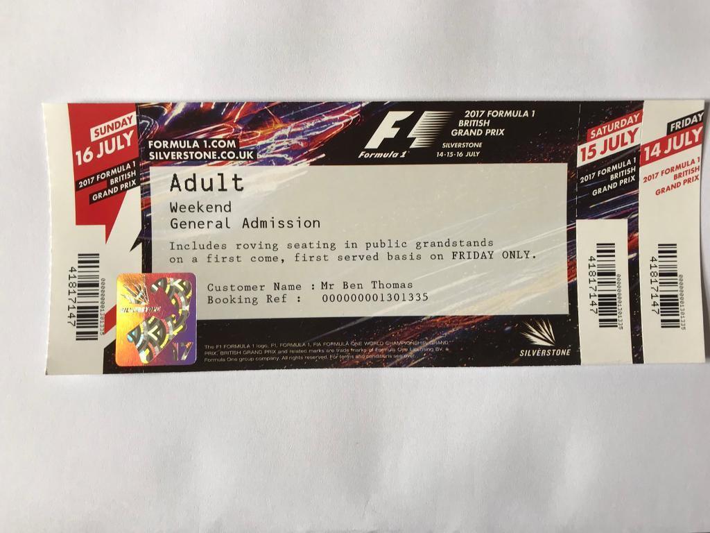 2017 British Grand Prix - Adult General Admission ticket | in ...