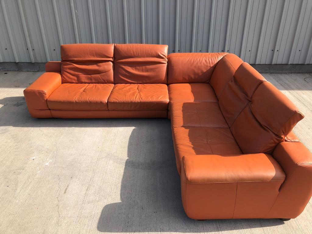 Real Italian Leather Orange Corner Sofa Couch Suite In Southside Glasgow Gumtree