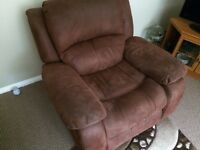 BROWN FAUX LEATHER RECLINER SOFA CHAIR