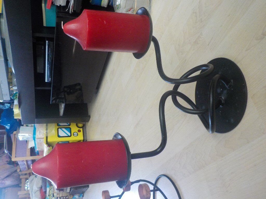Large Heavy Candle Holder with 2 Large Red Candles - Collect PE27 5JU