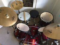 pearl beach drum kit with zildjian symbols and black panther steel snare drum
