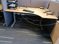 Electric height adjustable sit stand corner desk