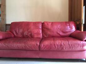 3+2 seater red leather sofas