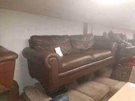 Very nice rolled arm dark brown 3 seater sofa