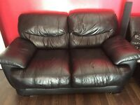 2+3 black faux leather sofas