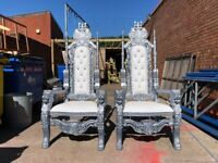 2x BRAND New Lion King Throne Chairs (180cm) - Silver Asian Wedding Luxury French Italian Furniture