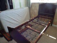 old vintage antique original single bed frame, coil springs and mattress
