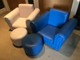 Faux Leather Children's Chairs, blue and pink with matching stools.