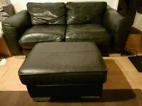 2x Black Leather Settees And Foot Stool