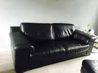 Violino leather Large 2 seater sofa 1 chair & footstool