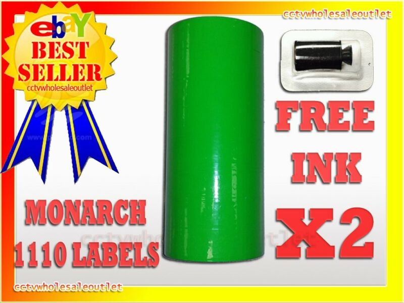 2 SLEEVES FLUORESCENT GREEN LABEL FOR MONARCH 1110 PRICING GUN 2 SLEEVES=32ROLLS