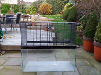 GERBILARIUM GLASS TANK WITH CAGE SUITABLE FOR GERBILS, HAMSTERS, MICE, RATS & REPTILES