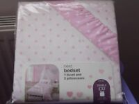 Next Pink and white spot Duvet cover Double, never been out of the packet