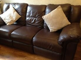 Three-seater brown leather sofa for sale