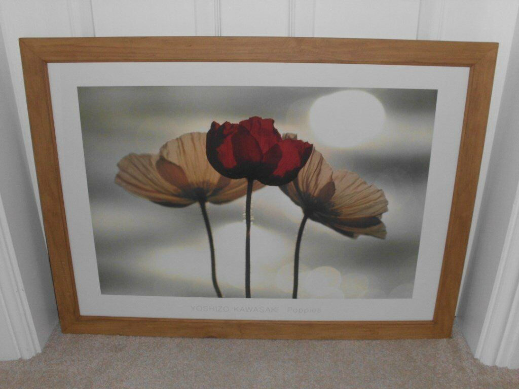 'POPPIES' IKEA FRAMED PRINT BY YOSHIKO KAWASAKI. IN EXCELLENT CONDITION.
