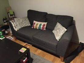 Charcoal grey fabric sofa