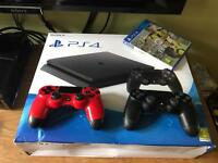 PS4 Slim 500GB + 2x Controllers & FIFA 17 (Sealed)