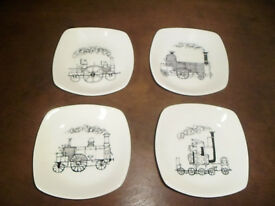 SET OF 4 LOCOMOTIVE DISHES BY TERENCE CONRAN,FROM EARLY 1960'S