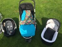 Mamas and papas zoom travel system. Pushchair, car seat etc.
