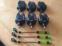 Fox mx+ bite alarms in blue x3 plus fox green indicators x3