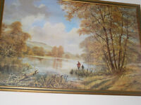 beautiful signed fishing print in frame