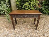 Beautiful Antique Old Oak Green Man Hall Side Table