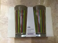 4 Brand New Rainbow Striped Glasses