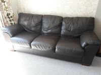 Brown 2 & 3 seater leather sofas