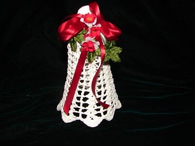 Handcrafted Crochet White Christmas Bell Ornament with Ribbon and Flower Trim