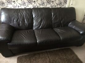 Dark brown leather 2 and 3 seater