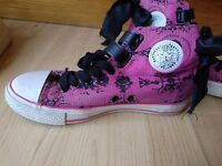 Iron Fist pink trainers with black bows size 6