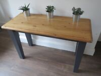 chunky black hall console table or back to wall half size dining table