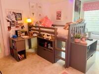 Milo Grey Wooden Mid Sleeper Kids Bed Frame - 3ft Single including mattress