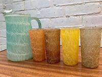 Vintage Coloured Glass and Jug Set 1950s ca