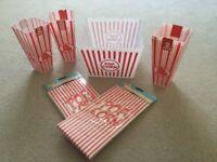 Popcorn Retro party tub box bag set - 1 jumbo & 4 plastic tubs 20 paper bags NEW