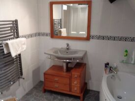 bathroom sink inc taps mirror drawer unit good as new grey and pine colour bathroom suite ensuite
