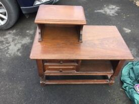 Telephone table/seat in solid oak. Could be used as table or seat with top removed.