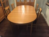 Extendable Dining Room Table & 4 Chairs