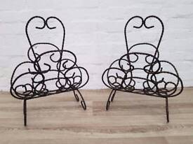 Pair Of Decorative Metal Magazine Racks (DELIVERY AVAILABLE FOR THIS ITEM OF FURNITURE)