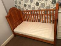Wooden bed for baby with mattress