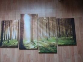 PAINTING OF FOREST SCENE 4 CANVAS LIKE PAINTINGS IN WOODEN FRAMES