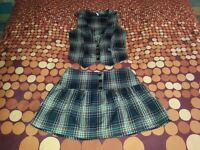 Tartan waistcoat and skirt (size S)