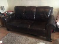 Reasonable offers taken for Brown leather Sofa, 2 armchairs with large square pouffe