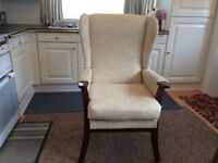 Wing back high seat armchair