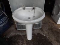 Used Bathroom Sink In Good Order with Taps and Pedestal