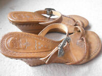 Real leather wedged sandals (from ASH) with leather stitching and lovely patterns!