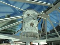 ATTRACTIVE FABRIC LAMPSHADE - LIGHT GREY COLOUR. 'MOON & STARS'