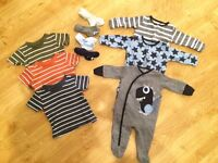 Boys baby clothes bundle, sleepsuits/tshirts/socks up to 1 month