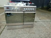 Stainless Steel 5 Burmers A++ Class Baumatic 90cm Dual Fuel Range Cooker In Fully Working Order